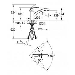 Mitigeur évier EUROSMART NOUVEAU bec bas avec douchette extractible SuperSteel (30305DC0)