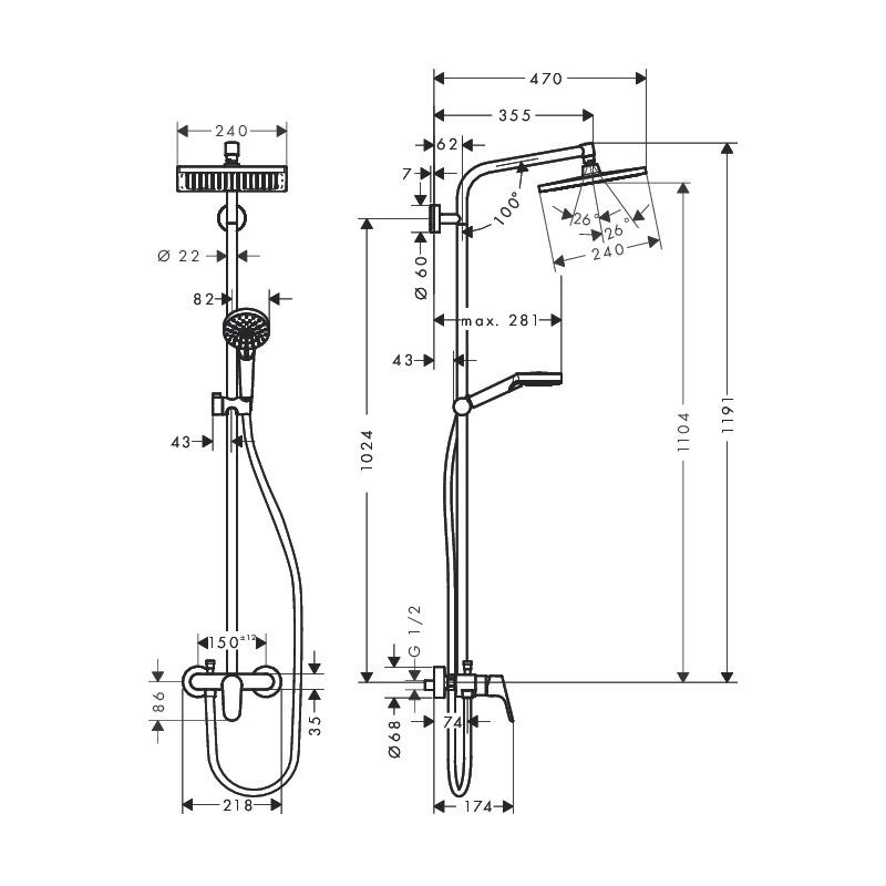 Set De Douche Showerpipe Crometta E 240 1jet Mitigeur Mecanique