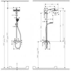 Set de douche Showerpipe Crometta E 240 1jet, mitigeur mécanique (27284000)