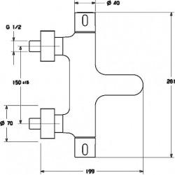 PRISMA Mitigeur thermostatique de baignoire, DN 15 (G 1/2) (58102101)