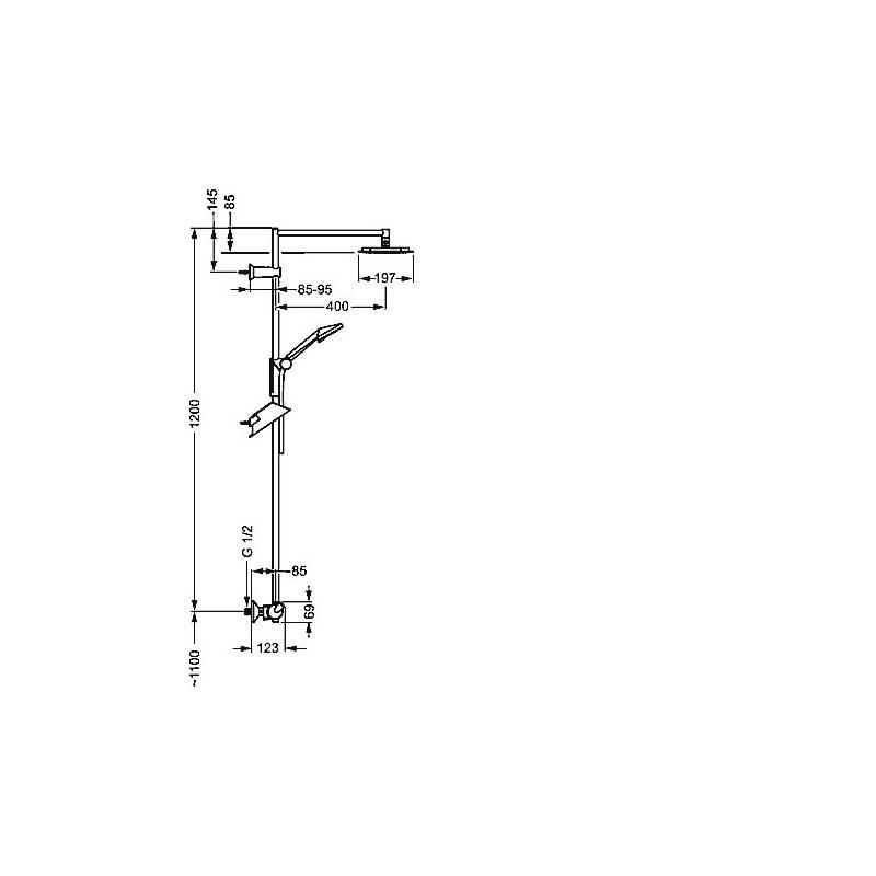 fit mitigeur thermostatique de douche pour montage mural avec set de douche 65159101 livea. Black Bedroom Furniture Sets. Home Design Ideas