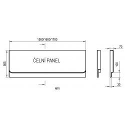 Čelní panel k vaně Chrome 1600 mm, bílý