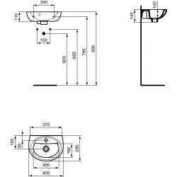 ASTOR Lave-mains 400 x 295 x 140 mm,blanc (R420601)