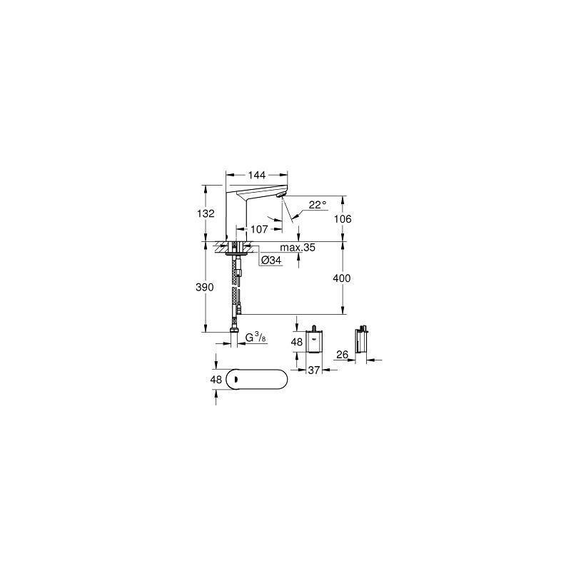 grohe eurosmart ce mitigeur de lavabo infrarouge dn 15 avec limiteur de temp rature 36330001. Black Bedroom Furniture Sets. Home Design Ideas
