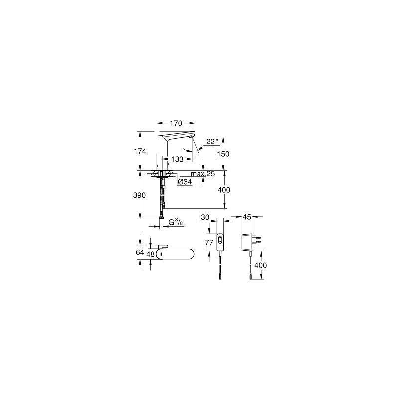 grohe eurosmart ce robinet infrarouge pour lavabo 1 2 36421000 livea sanitaire sas. Black Bedroom Furniture Sets. Home Design Ideas