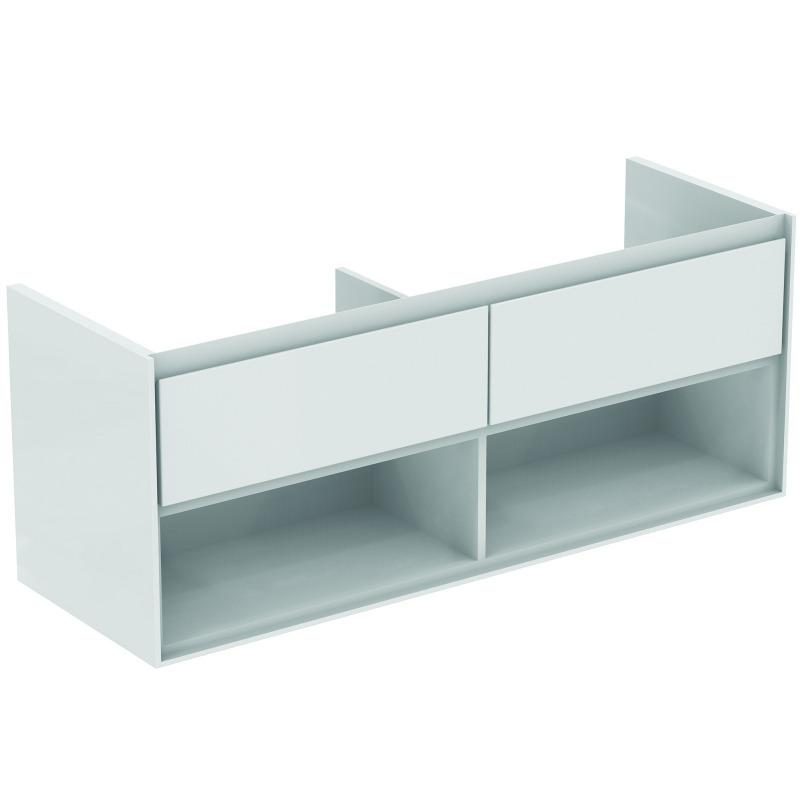 Connect air meuble pour lavabo plan double couleur blanc laqu gris plume mat 517 x 1300 x 440 - Meuble sous lavabo blanc laque ...