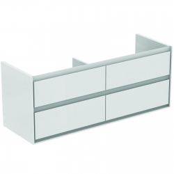 CONNECT AIR Meuble pour lavabo-plan double Couleur blanc laqué/gris plume mat 517 x 1300 x 440 mm (E0824KN)