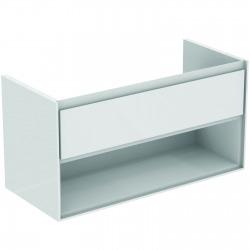 CONNECT AIR Meuble pour lavabo-plan Couleur blanc laqué/ gris plume mat 517 x 1000 x 440 mm (E0828KN)
