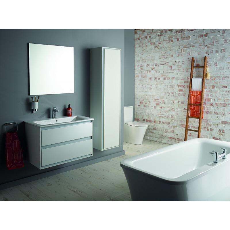 Connect air meuble pour lavabo plan couleur blanc laqu gris plume mat 517 x 1000 x 440 mm - Meuble sous lavabo blanc laque ...