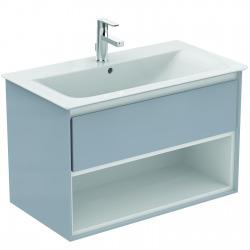 CONNECT AIR Meuble pour lavabo-plan 517 x 800 x 440 mm Couleur blanc laqué/gris plume mat (E0827KN)