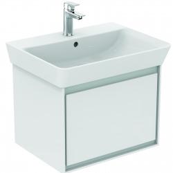 CONNECT AIR Meuble pour lavabo Cube 60 cm, 400 x 535 x 412 mm, Couleur Blanc laqué/gris plume mat (E0846KN)