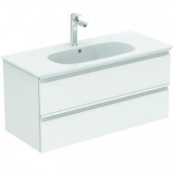 TESI Meuble pour lavabo 100 x 44 x (H) 49 cm Couleur blanc laqué (T0052OV)