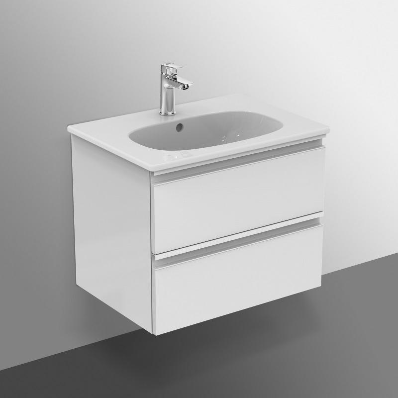 Tesi meuble pour lavabo 60 x 44 x h 49 cm couleur blanc laqu t0050ov livea sanitaire sas - Meuble sous lavabo blanc laque ...