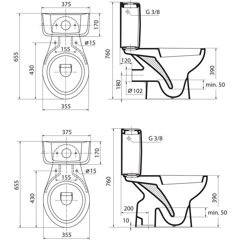 eurovit wc avec sortie verticale 355 x 760 x 655 mm blanc. Black Bedroom Furniture Sets. Home Design Ideas