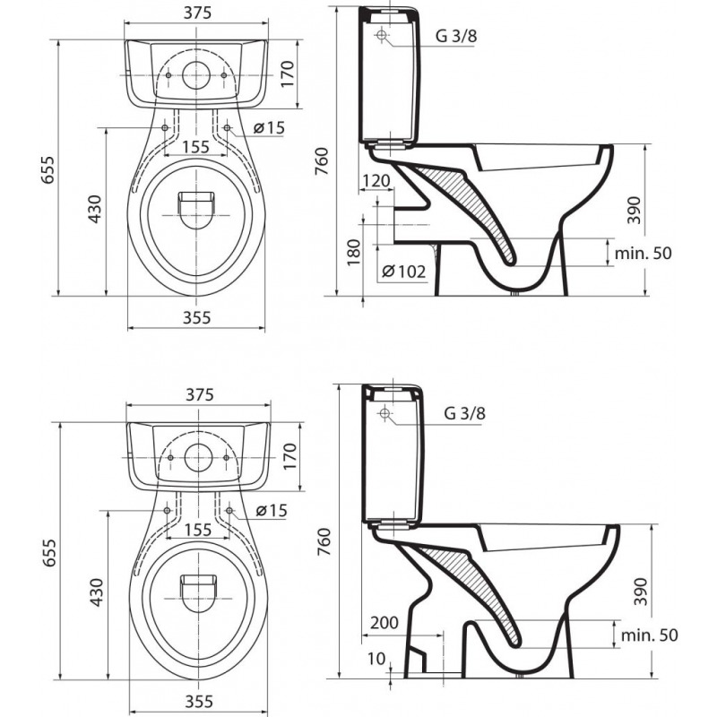 ideal standard eurovit wc avec sortie verticale poser. Black Bedroom Furniture Sets. Home Design Ideas