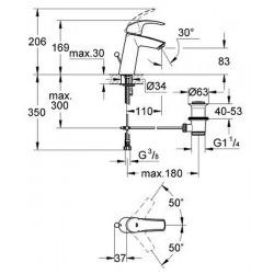"""Eurosmart Mitigeur monocommande 1/2"""" Lavabo Taille M (23322001)"""