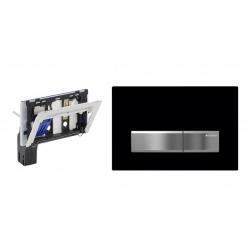 Set - Plaque de déclenchement SIGMA 50 noire + Support pour bloc d'eau bleue (115.610.00.1-SET1)