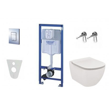 Pack WC Rapid SL GROHE + Cuvette Ideal Standard Tesi Aquablade + Plaque de commande Grohe Skate Chrome