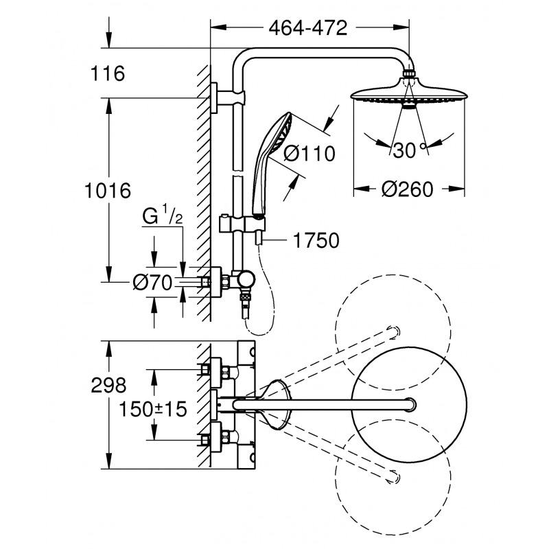 nouvelle colonne de douche euphoria smartcontrol thermostatique  t u00eate xxl de 260mm et 3 jets
