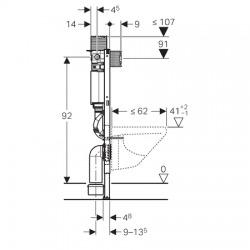 Duofix Élément pour WC suspendus, H : 98 cm, avec réservoir de chasse encastré Omega (111.030.00.1)