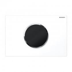 Plaque de Commande Sigma10 alimentation par pile sans contact rinçage double touche, Blanc/glossy chrome(115.908.KJ.1)