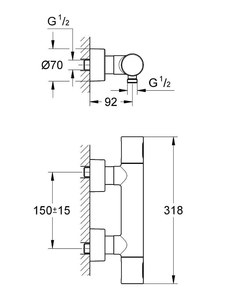 grohe mitigeur thermostatique de douche grohtherm 3000 34274000